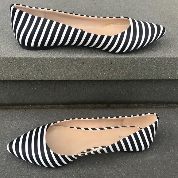 Express Black White Striped Flats Shoes